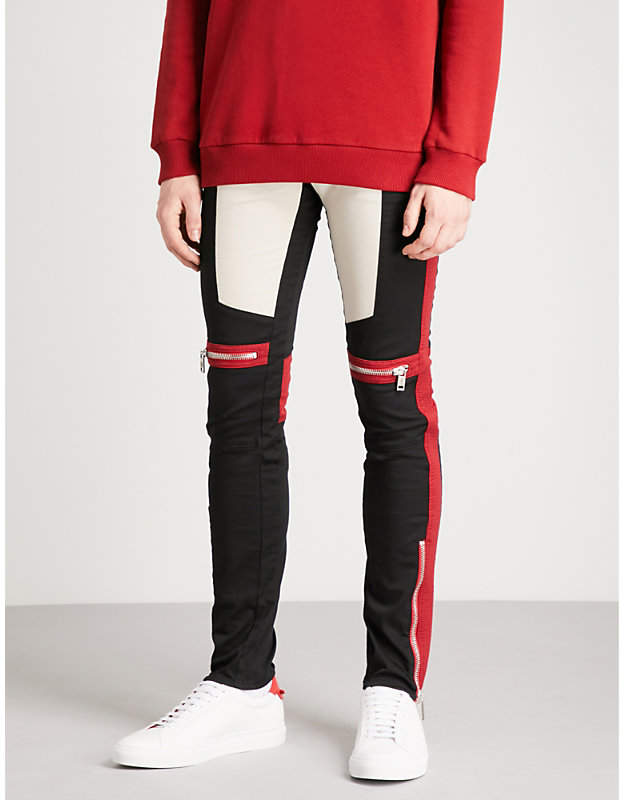 Givenchy Motorcross-detail slim-fit skinny stretch-cotton trousers