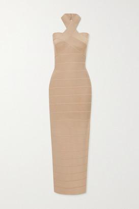 Herve Leger Bandage Halterneck Gown - Taupe