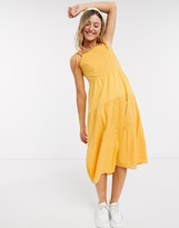 Influence sleeveless midi tiered cami dress with broderie panels