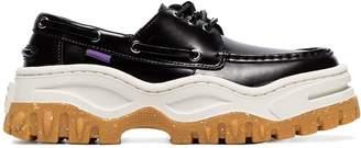 Eytys black Mykonos patent leather deck shoes