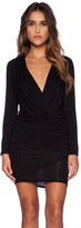 Krisa Long Sleeve Ruched Dress in Black. - size XS (also in )