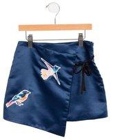 MSGM Girls' Bird-Embroidered Wrap Skirt