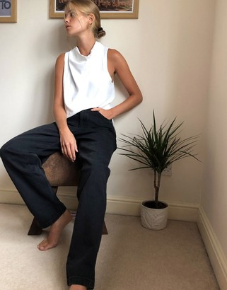 Topshop oversized balloon leg mom jeans in washed black