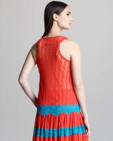 Jean Paul Gaultier Striped Lace-Trim Tank