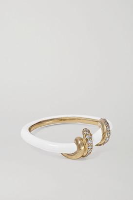 BEA BONGIASCA Baby Vine 9-karat Gold, Enamel And Diamond Ring - White