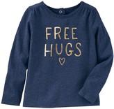 "Osh Kosh Toddler Girl Free Hugs"" Foil Graphic Tee"