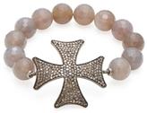 Agate Bead & 3.30 Total Ct. Champagne Diamond Maltese Cross Bracelet