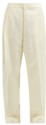 Wales Bonner Satin-panel Wool-twill Trousers - Ivory