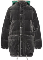 Sacai Faux Shearling-trimmed Cotton-velour Down Jacket - Gray