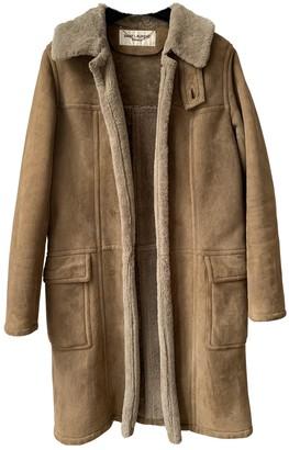 Saint Laurent Brown Shearling Coat for Women