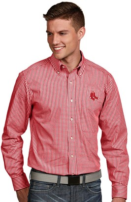Antigua Men's Boston Red Sox Associate Plaid Button-Down Shirt