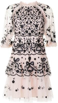Needle & Thread Bonnie Bow embroidered mini dress