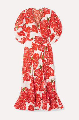 Rhode Resort Fiona Floral-print Cotton-voile Wrap Midi Dress - Red