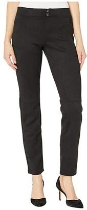 Hue Microsuede Straight Leg Leggings (Black) Women's Casual Pants