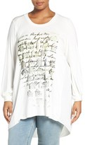 Melissa McCarthy Graphic Print High/Low Mixed Media Tee (Plus Size)