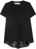 Valentino Paneled Stretch-knit And Lace Top - Black