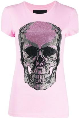 Philipp Plein Rhinestone-Skull Jersey T-Shirt