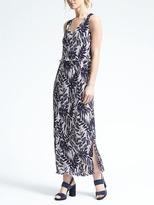 Banana Republic Fern Print Layered Pleat Maxi Dress