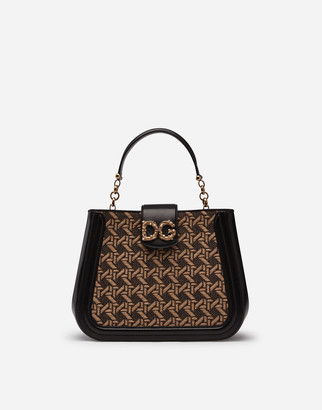 Dolce & Gabbana Small Amore Bag In Braided Raffia And Cowhide
