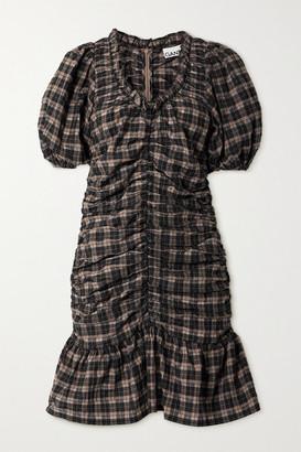 Ganni Ruffled Ruched Checked Organic Cotton-blend Seersucker Mini Dress - Black