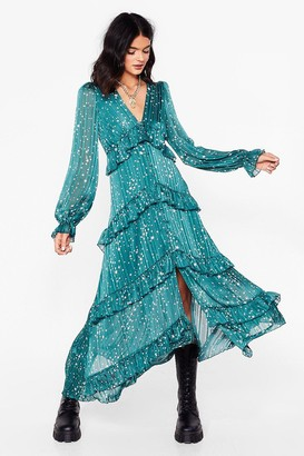 Nasty Gal Womens We've Came This Star Ruffle Midi Dress - Green - 4