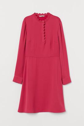 H&M Scalloped-edge Dress - Pink