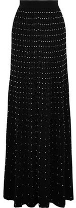 Balmain Studded Pleated Wool-blend Maxi Skirt