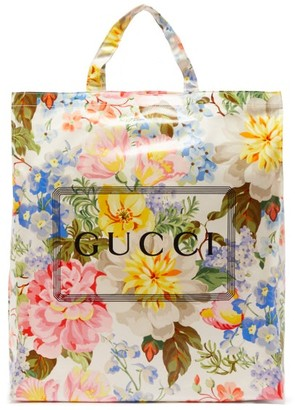 Gucci Cabas Floral-print Coated Canvas Tote Bag - Multi