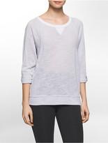 Calvin Klein Performance Microstripe Dolman Roll-Tab Sleeve Sweatshirt