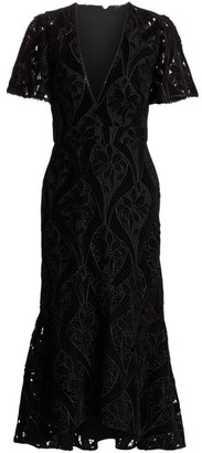 ML Monique Lhuillier Velvet Lace Midi Dress