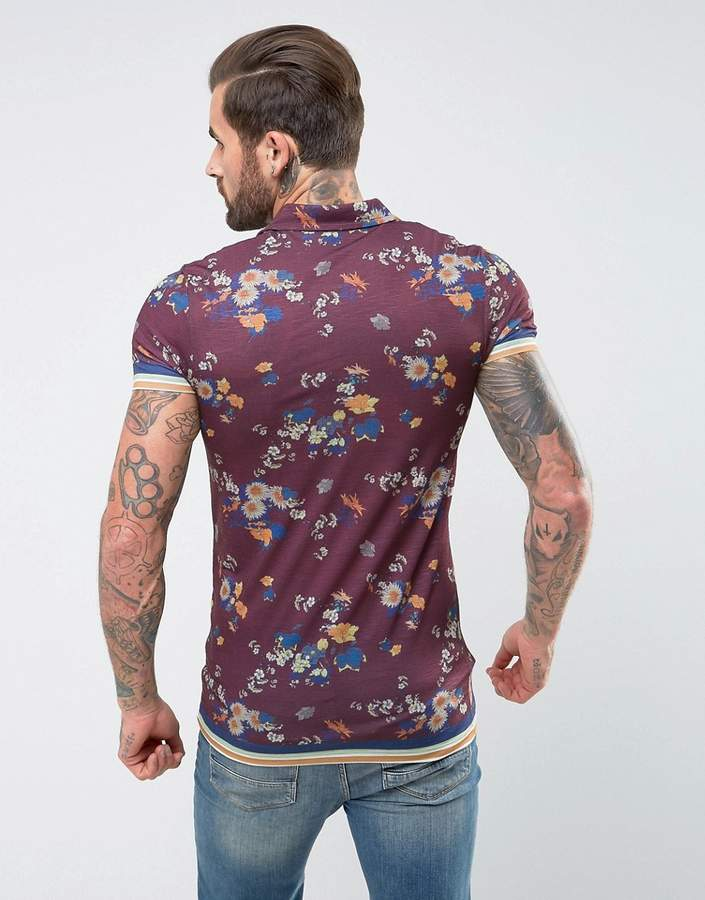 Asos Muscle Longline Polo With Revere Collar And All Over Floral Print
