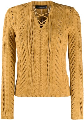 DSQUARED2 Open Knit Lace Up Top