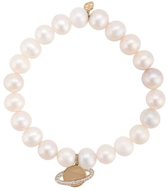 Sydney Evan 14kt yellow gold and diamond pearl Saturn beaded bracelet