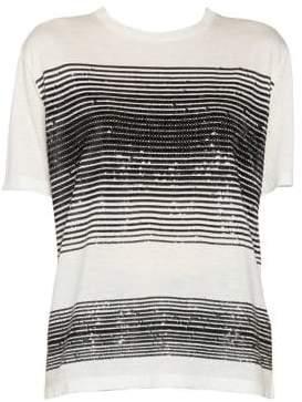 Saint Laurent Women's Sequin Stripe Jersey T-Shirt - Black Multi - Size XS