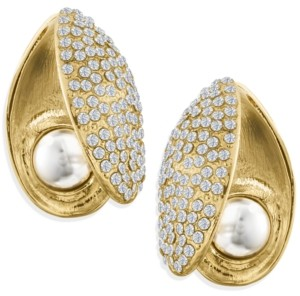 ZAXIE by Stefanie Taylor Zaxie Pave Shell Gold Button Earrings