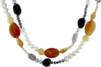 Miadora Freshwater Pearl and Colorful Gemstone Necklace