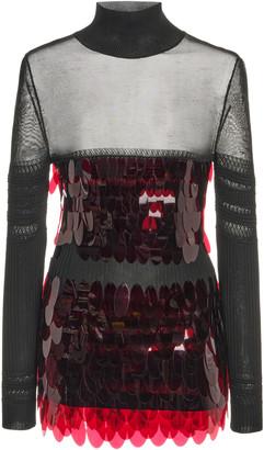 Paco Rabanne Paillette-Embellished Knit Mock-Neck Sweater