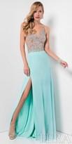 Terani Couture Rhinestone Beaded Illusion Slit Prom Dress