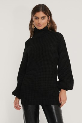 NA-KD High Neck Long Knitted Sweater