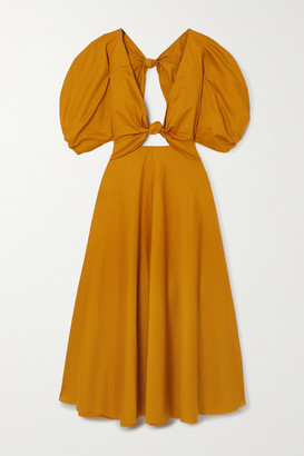 Mara Hoffman Net Sustain Leila Knotted Organic Cotton-poplin Maxi Dress - Saffron