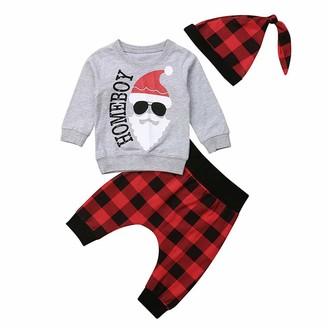 Bowanadacles Christmas Infant Baby Girl Boy Clothes Santa Tops+Plaids Pants+Hat Outfit Set (Grey 6-12m)