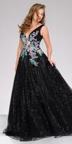 Jovani Sequin Embellished Floral Applique Ball Gown