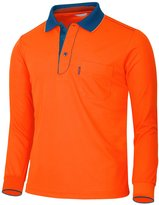 BCPOLO Men's Athletic Polo Dri-Fit Long Sleeve Polo Shirt- M