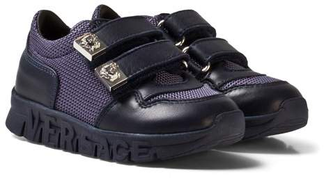 Versace Navy Mesh and Leather Trainers with Medusa Head