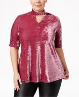 NY Collection Plus Size Velvet Mock-Neck Top