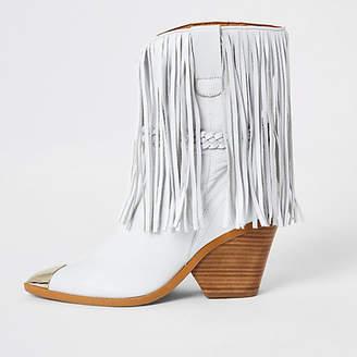 River Island White leather fringe western boots