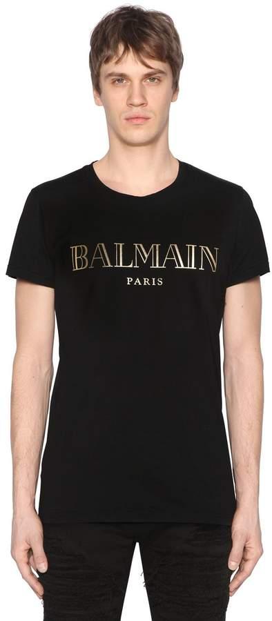 Balmain Gold Logo Print Cotton Jersey T-Shirt