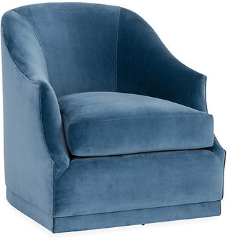 One Kings Lane Bridget Swivel Club Chair - Harbor Blue Velvet