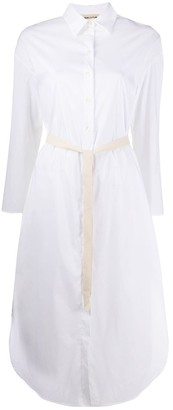 Semi-Couture Curved-Hem Midi Shirtdress