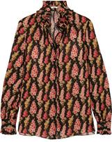 Vilshenko Becca Ruffled Floral-print Silk-georgette Blouse - Black
